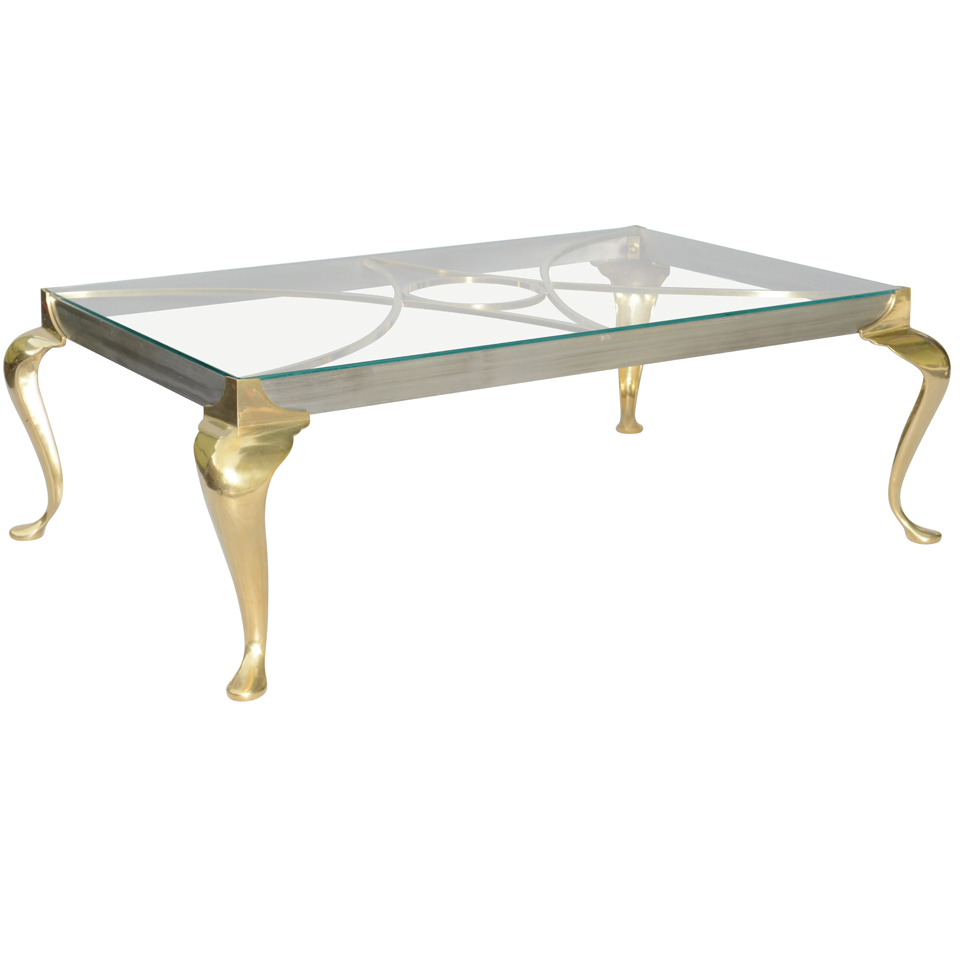 Polished Steel And Brass Coffee Table On Cabriole Legs